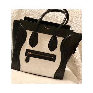 Authentic Celine Lambskin bicolor micro luggage